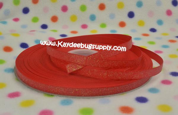 SOLID Red Glitter - 3/8 inch-solid, red, glitter,