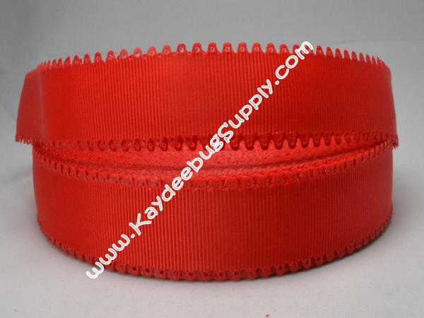 SOLID -  Scalloped-Edge - Red - 7/8 inch-solid, wave, red, valentine, grosgrain, unique, ribbon,  Scalloped-Edge, scalloped, edge