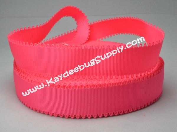 SOLID -  Scalloped-Edge - Shocking Pink - 7/8 inch-solid, wave, neon, shocking, pink, valentine, grosgrain, unique, ribbon,  Scalloped-Edge, scalloped, edge