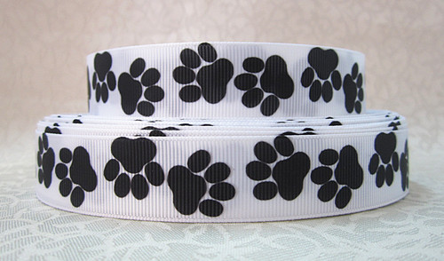 Paw Print - Black on White - 7/8 inch-paw, print, prints, school, go team, spirit, black, white, bad to the bone,