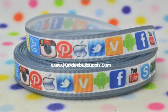 Social Media - Grey Border - 7/8 inch-social, media, facebook, pinterest, blog, ig, instagram, you, tube