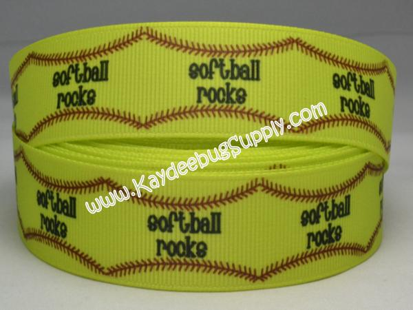 Softball Rocks - 7/8 inch-sport, sports, teams, team, girl, girly, neon, base ball, baseball, soft, ball