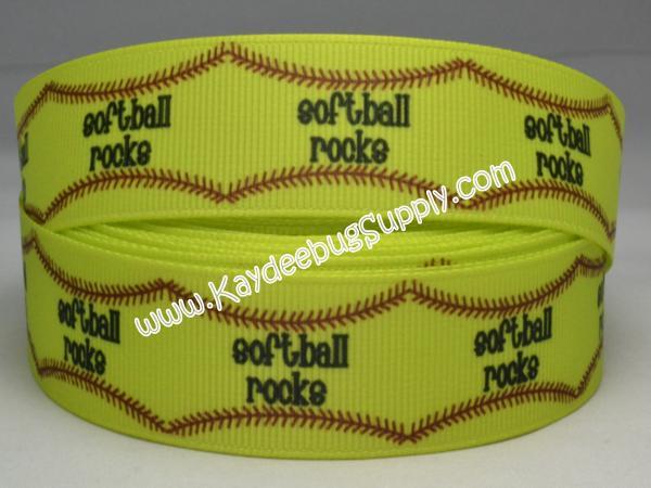 Softball Rocks - 7/8 inch-sport, sports, teams, team, girl, girly, neon, base ball, baseball, soft, ball