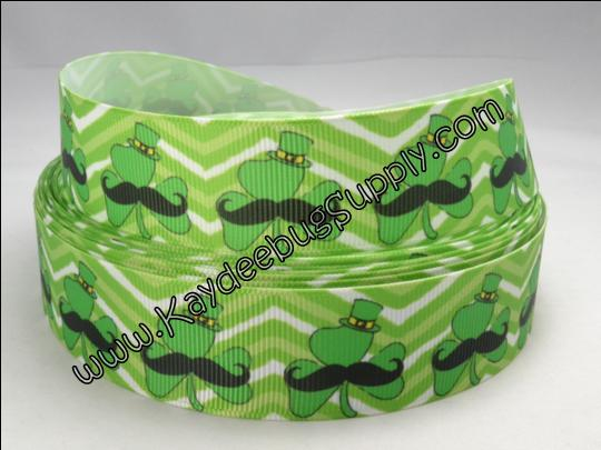 Mustache on Shamrock - Green Chevron Background - 1 inch-st. patricks day, patrick's, st. patrick's day, day, green, celtic, shamrock, lucky, clover, leaf, holiday, ireland, irish, mustache, chevron