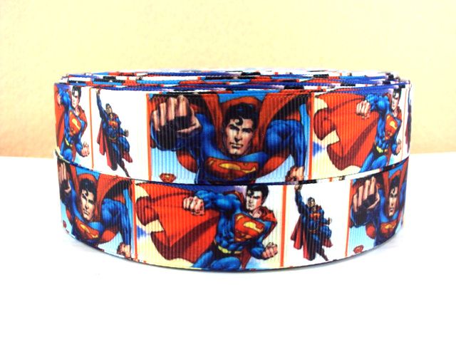 Superman - 7/8 inch-super, man, superman, logo, hero, superhero, s on my chest, blue, boys ribbon, boy, batman, clark, kent, clark kent