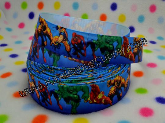 Superhero Squad - BLUE - 1 inch-super, hero, superhero, squad, spider, web, man, spiderman, super, hero, superhero, boys , ribbon, marvel, modern, bat, batman, Iron Man, Iceman, MODOK, Sif, Mister Fantastic, Chthon, Stranger, Valkyrie, spiderman, hulk, incredible, avengers,  heroes, superheroes