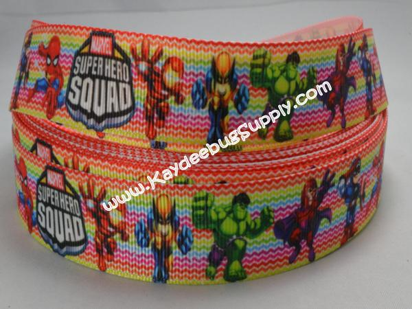 Superhero Squad - Rainbow Chevron - 7/8 inch-super, hero, superhero, squad, spider, web, man, spiderman, super, hero, superhero, boys , ribbon, marvel, modern, bat, batman, Iron Man, Iceman, MODOK, Sif, Mister Fantastic, Chthon, Stranger, Valkyrie, chevron, rainbow, multi, multicolor, color