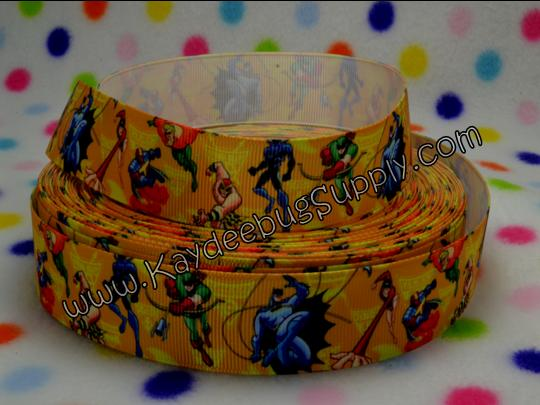 Superhero Squad - YELLOW - 1 inch-super, hero, superhero, squad, spider, web, man, spiderman, super, hero, superhero, boys , ribbon, marvel, modern, bat, batman, Iron Man, Iceman, MODOK, Sif, Mister Fantastic, Chthon, Stranger, Valkyrie, spiderman, hulk, incredible, avengers, heroes, superheroes