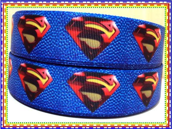 Superman Logo Blue Background - 7/8 inch-super, man, superman, logo, hero, superhero, s on my chest, blue, boys ribbon, boy, batman, clark, kent, clark kent