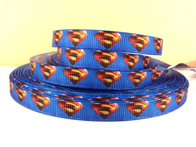 Superman - Blue - 3 /8 inch-super, man, superman, logo, hero, superhero, s on my chest, blue, boys ribbon, boy, batman, clark, kent, clark kent, classic
