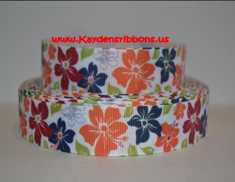 Flowers - Tropical Luau - Orange Blue Green - 1-flower. flowers, Hawaiian, tropical, luau,