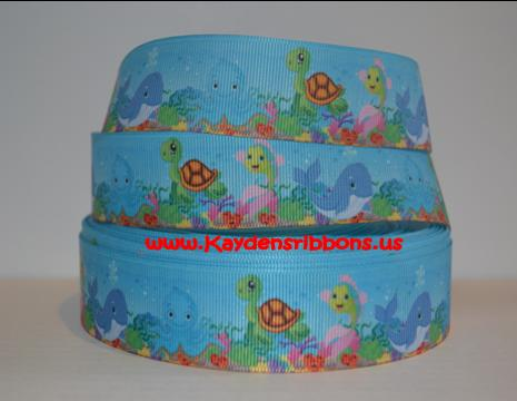Under the Sea Animals - BLUE - 1 inch-ocean, sea, turtles, turtle, octopus, star, fish, shell, shells, whale, whales,