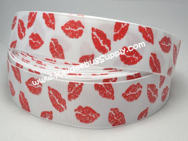 Red Lips on WHITE - Kiss - Glitter /8 inch-love, lip, lips, kiss, v-day, valentines, valentine, red, 22mm, glitter,