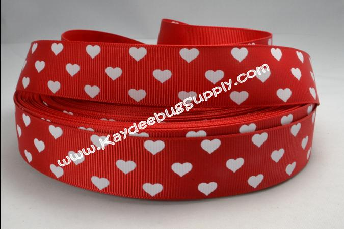 Hearts White on RED - 1 inch-love, heart, hearts, white, red, solid, dots, valentine, valentines, day, holiday