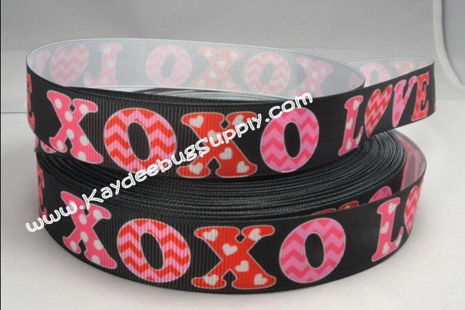 XOXO Love - Black - 7/8 inch-love, heart, hearts, white, red, xoxo, black, valentine, valentines, day, holiday