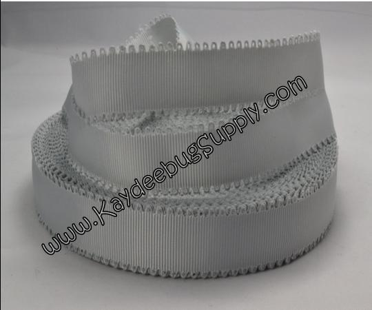 SOLID - Scalloped Edge - Grey - 7/8 inch-solid, wave, black, grosgrain, unique, ribbon,  Scalloped-Edge, scalloped, edge, grey,