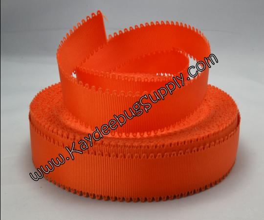 SOLID - Scalloped Edge - Orange - 7/8 inch-solid, wave, black, grosgrain, unique, ribbon,  Scalloped-Edge, scalloped, edge, grey,broncos, knicks, chicago, bears,