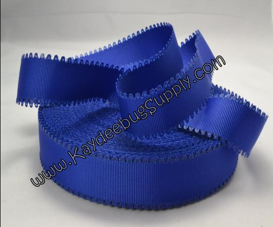 SOLID - Scalloped Edge - Royal Blue - 7/8 inch-solid, wave, black, grosgrain, unique, ribbon,  Scalloped-Edge, scalloped, edge, royal, blue, seahawks, seattle, superbowl,