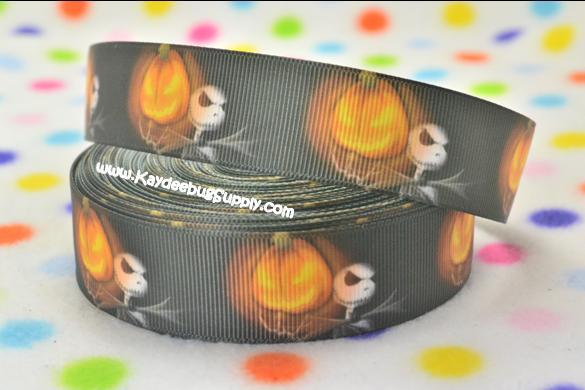 Jack Skellington - PUMPKIN - 1 inch-movie, jack, skellington, nightmare, before, christmas, halloween, pumpkin, pumpkins, scary, zero,  Harlequin, purple, ribbon, halloween,